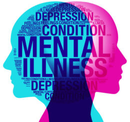A male and female side silhouette positioned back to back, overlaid with various sized words related to the topic of mental health and depression.